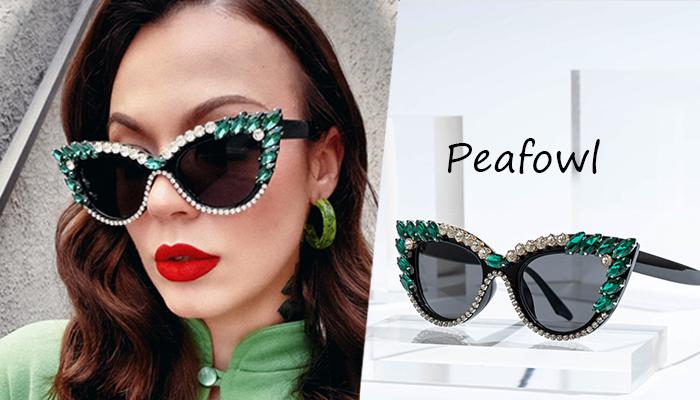 Cat Eye Sunglasses with Rhinestones