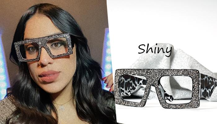 Flat Top Eyeglasses with Rhinestones