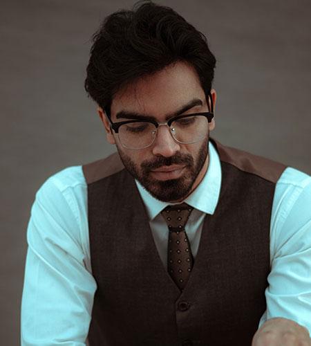 Semi-Rimmed Blackgold Eyeglasses for Men