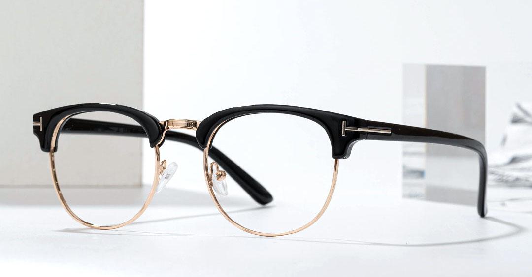 Black And Gold Eyeglasses For Men Women