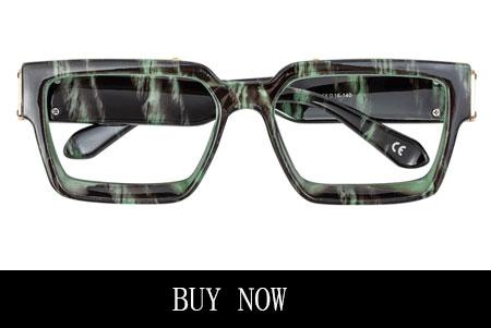 Green Black Rectangle Glasses for Diamond Face Shape